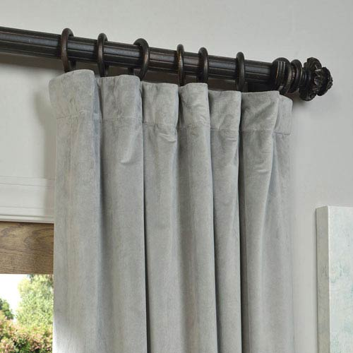 Signature Silver Grey Blackout Velvet Pole Pocket Single Panel Curtain, 50 X 96