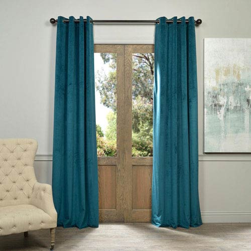 Half Price Drapes Signature Everglade Teal 84 x 50-Inch Grommet Blackout Curtain Single Panel