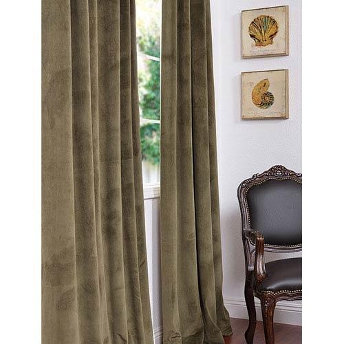 Half Price Drapes Signature Hunter Green Blackout Velvet Pole Pocket Single Panel Curtain, 50 X 84