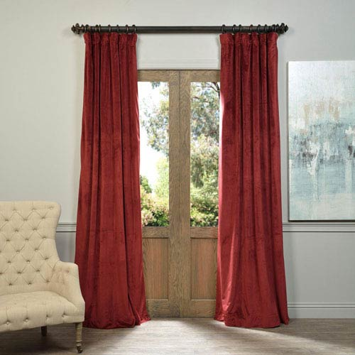 Half Price Drapes Signature Burgundy Blackout Velvet Pole Pocket Single Panel Curtain, 50 X 120