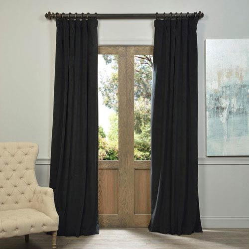 Signature Warm Black Blackout Velvet Pole Pocket Single Panel Curtain, 50 X 108