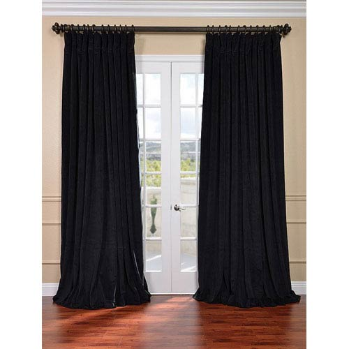 Half Price Drapes Signature Black Double Wide Velvet Blackout Pole Pocket Single Panel Curtain, 100 X 120