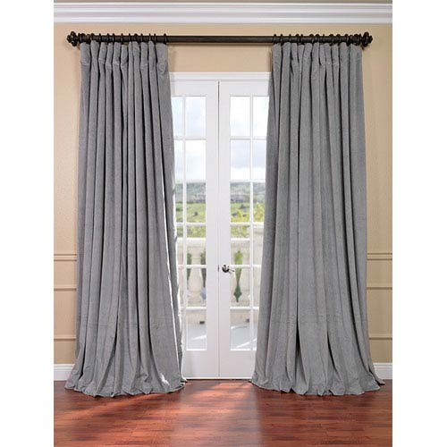 Signature Silver Grey Double Wide Velvet Blackout Pole Pocket Single Panel Curtain, 100 X 96