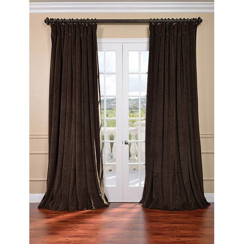 Signature Java Double Wide Velvet Blackout Pole Pocket Single Panel Curtain, 100 X 96