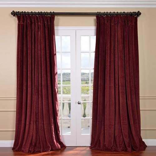 Signature Burgundy Double Wide Velvet Blackout Pole Pocket Single Panel Curtain, 100 X 108
