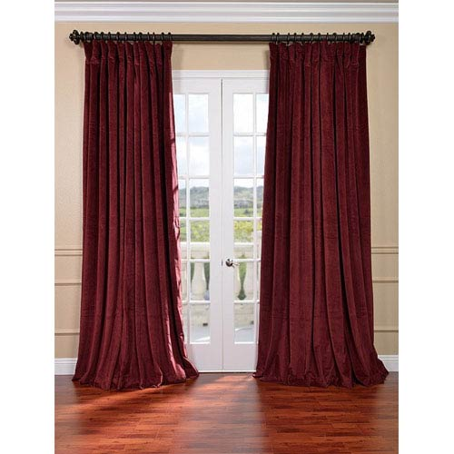 Signature Burgundy Double Wide Velvet Blackout Pole Pocket Single Panel Curtain, 100 X 84