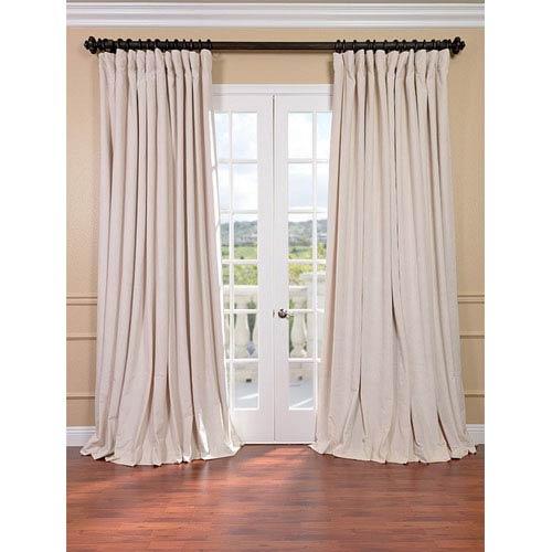 Half Price Drapes Signature Ivory Double Wide Velvet Blackout Pole Pocket Single Panel Curtain, 100 X 84
