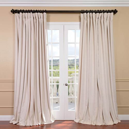 Half Price Drapes Signature Ivory Double Wide Velvet Blackout Pole Pocket Single Panel Curtain, 100 X 96