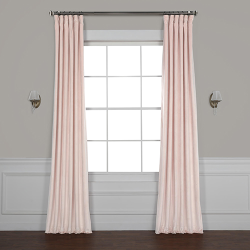 Pink 96 x 50 In. Plush Velvet Curtain Single Panel