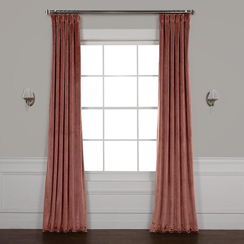 Pink 96 x 50 In. Plush Velvet Curtain Single Panel