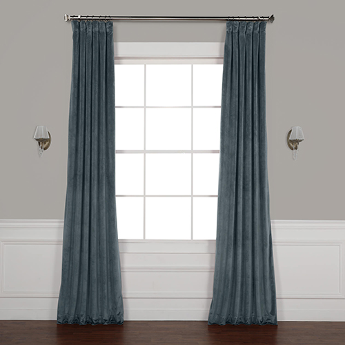 Blue 96 x 50 In. Plush Velvet Curtain Single Panel