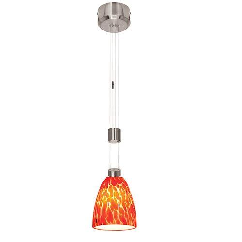 Access Lighting Zeta Fire Brushed Steel Burgundy Mini Pendant