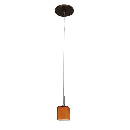 Access Lighting Omega Bronze One Light Low Voltage Square Mini Pendant With  Amber Glass And
