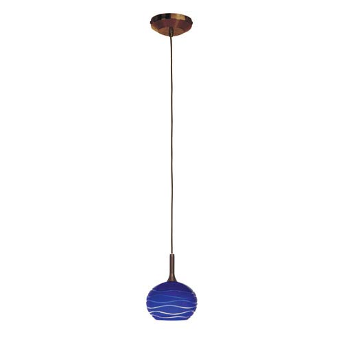 Access Lighting Delta Bronze One-Light Mini Pendant with Blue Lined Sphere Etched Glass