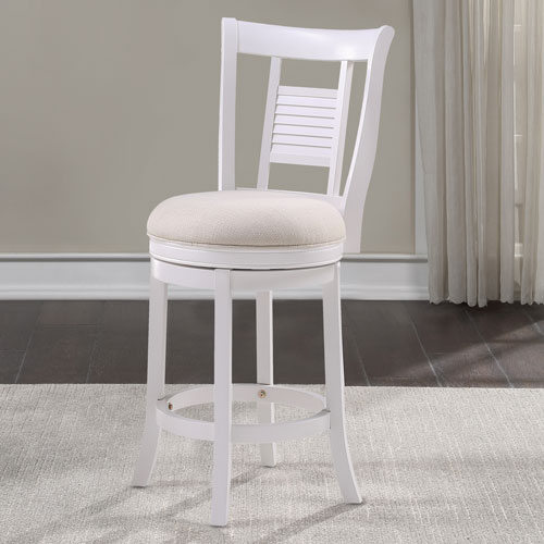 Grove White and Ivory Swivel Counter Stool