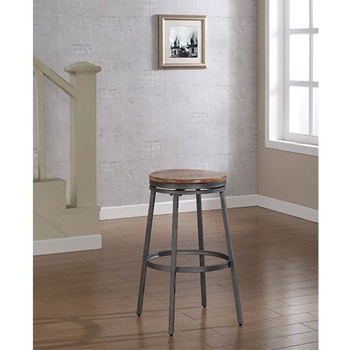 Stockton Slate Grey Backless Bar Stool with Golden Oak Seat