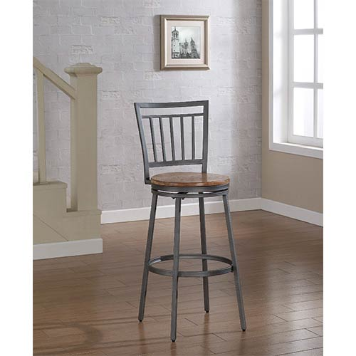 Filmore Slate Grey Counter Stool with Golden Oak Seat