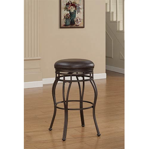 American Woodcrafters Villa Taupe Grey Tall Bar Stool with Russet Brown Bonded Leather Seat