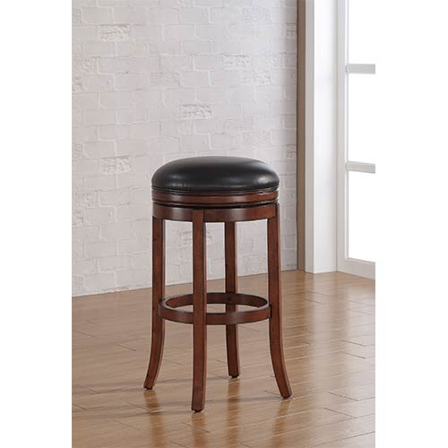 American Woodcrafters Stella Medium Walnut Backless Bar Stool with Java Bonded Leather Seat