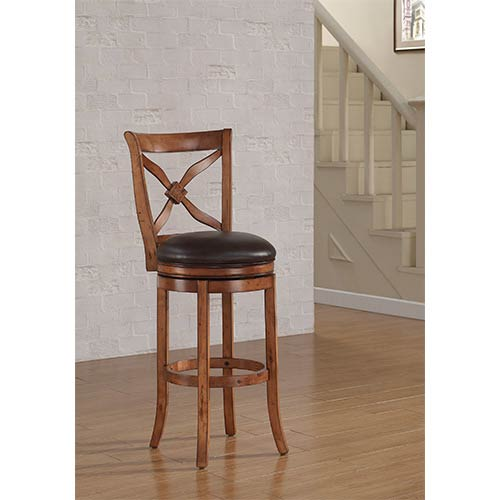 Provence Nutmeg Tall Bar Stool with Bourbon Bonded Leather Seat