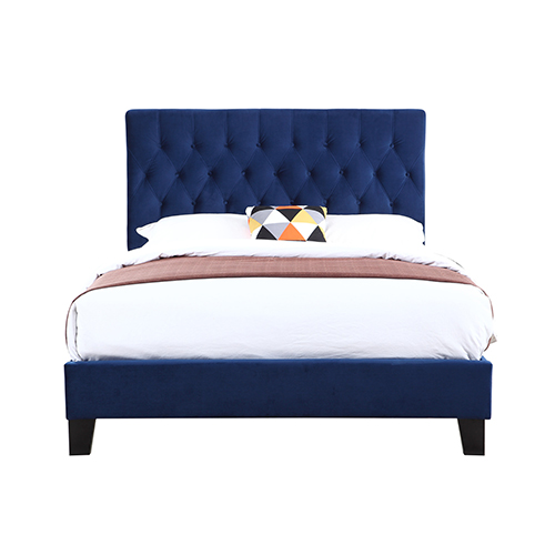 Linden Twin Navy Twin Upholstered Bed