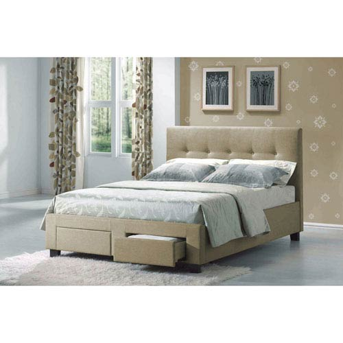 Emerald Home Furnishings Sydney Cal King Bed Fabric Linen Color