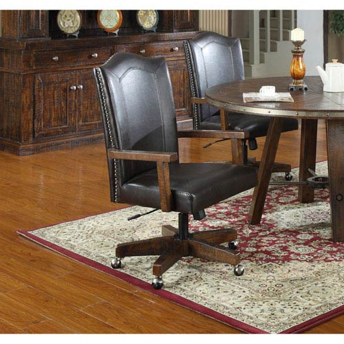 Castlegate Arm Chair with Castors Bonded Leath