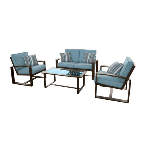 Emerald Home Furnishings Affilato Loveseat w/2 Lounge Chairs and Coffee Table