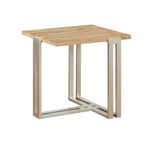 Emerald Home Furnishings Elements End Table Wood Top w/Silver Metal Base