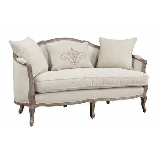 Emerald Home Furnishings Salerno Settee-Sand Gray Finish w/Pillows