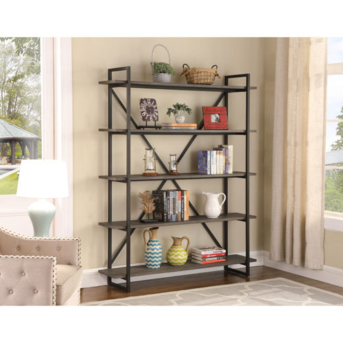 Emerald Home Furnishings Emerald Home Atari Antique Gray 60-Inch Five Shelf Bookshelf