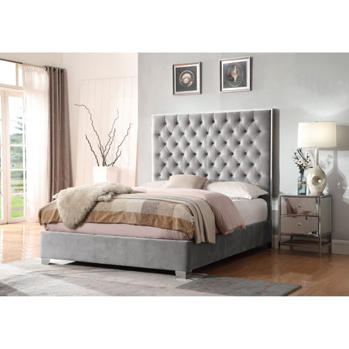 Emerald Home Lacey Gray Upholstered King Bed