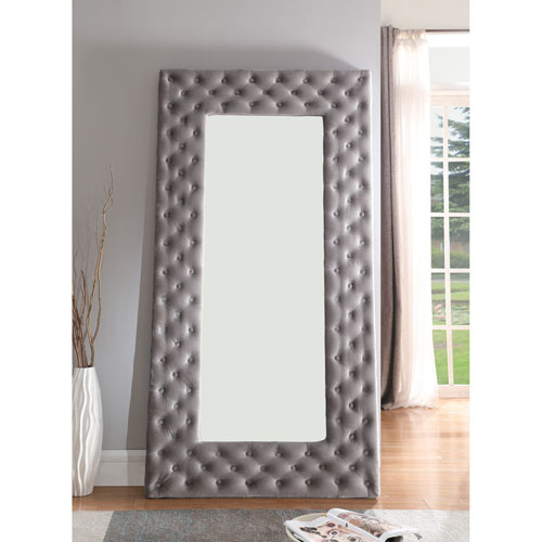 Emerald Home Lacey Gray Upholstered Floor Mirror