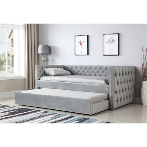 Emerald Home Paige Gray Trundle Day Bed