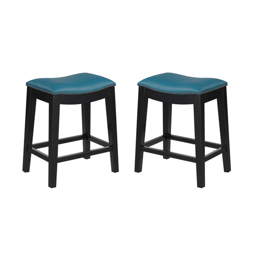Emerald Home Briar 24-Inch Teal Barstool- Set of 2