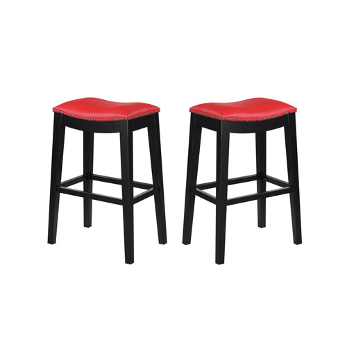 Emerald Home Briar 30-Inch Red Barstool- Set of 2