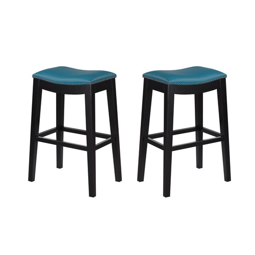 Emerald Home Briar 30-Inch Teal Barstool- Set of 2