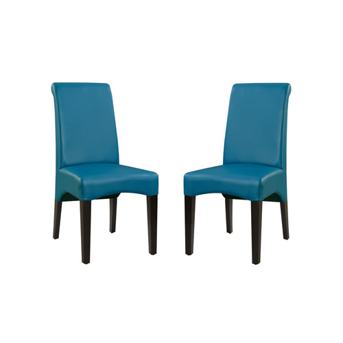 Emerald Home Briar II Upholstered Teal Dining Chair- Set of 2