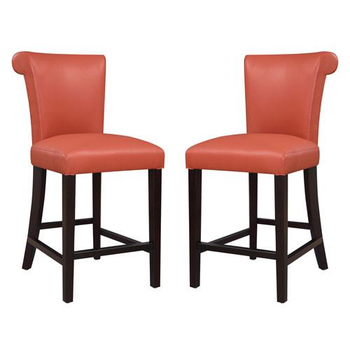 Linden Orange 24-Inch Barstool- Set of 2