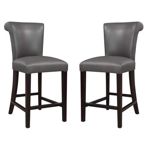 251 First Linden Gray 24-Inch Barstool- Set of 2