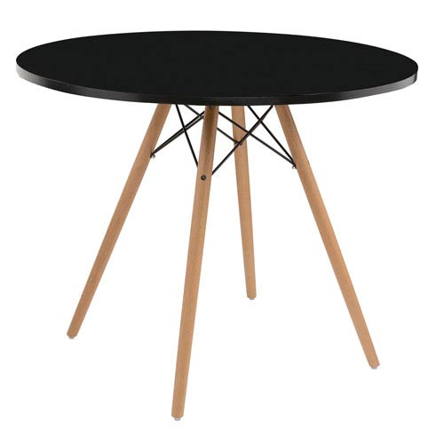 Emerald Home Furnishings Annette Complete Table-Round Black  40-inch