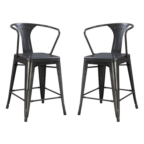 251 First River Station Gray All Gun Metal Barstool- Set of 2