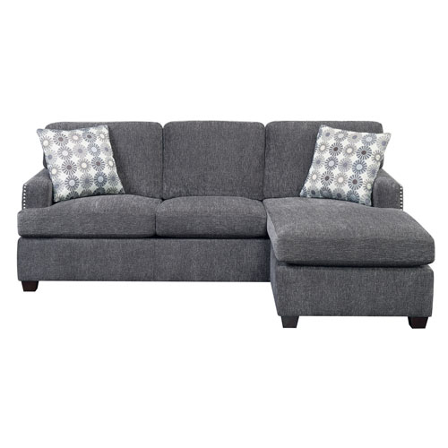 Siesta Gray King Sleeper Sofa- with Gel Foam Mattress and 2 Accent Pillows