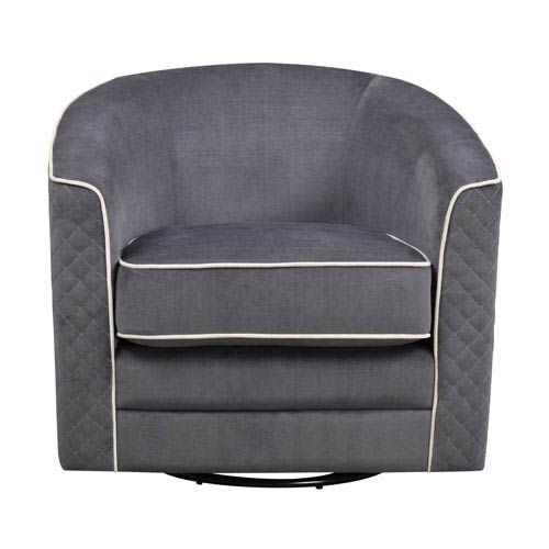 Roe Swivel Chair-Charcoal with  Tan Welts