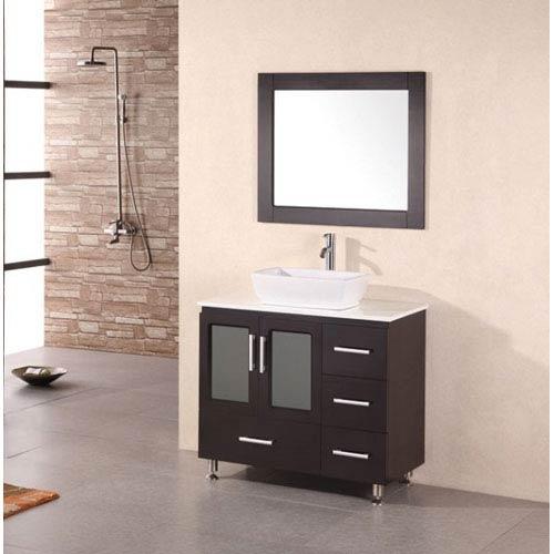 Design Element Stanton Dark Espresso 36 Inch Modern Vanity With Vessel Sink