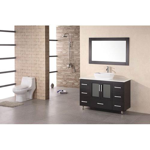 Design Element Stanton Dark Espresso 48 Inch Modern Vanity with Vessel Sink