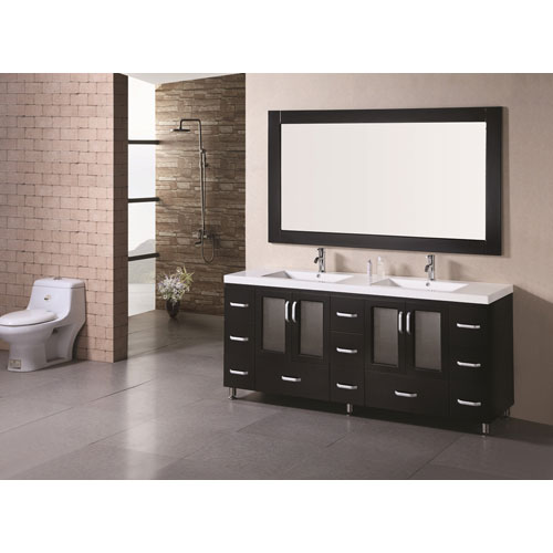 Stanton Dark Espresso 72 Inch Double Sink Bathroom Vanity Set with Drop-In Sinks