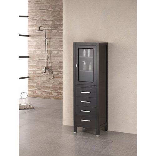 Merveilleux Design Element Dark Espresso Contemporary Linen Cabinet W/ Glass Door