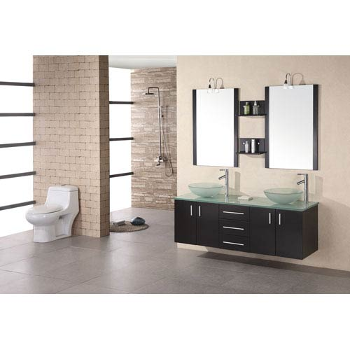 Design Element Modena Dark Espresso 60 Inch Double Sink Vanity Set