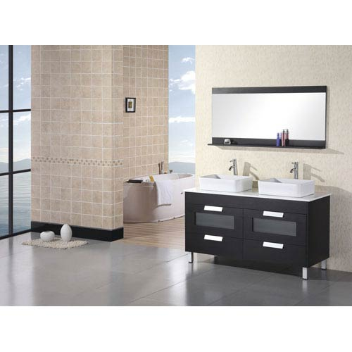 Design Element Francesca Espresso Double Sink Vanity Set